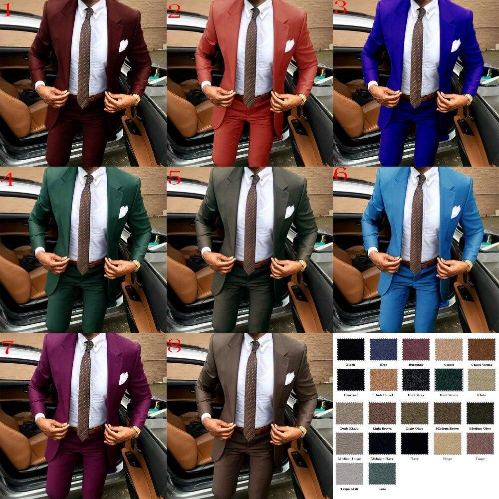 2019 dernier manteau pantalon conceptions marron hommes costume Slim fit élégant tuxedos de mariage entreprise fête robe d'été veste + pantalon terno - 3