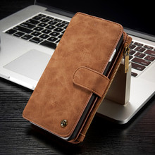 Brand Luxury Leather Case for iPhone 7 Plus Magnetic Wallet Cover Zipper Bag for iPhone 7