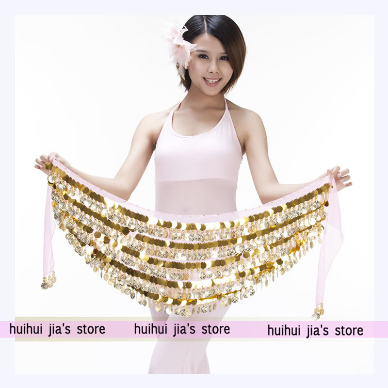 Shiny Gold Coin Hip Scarf Belly Dance Clothes For Sale Women's Beautiful Belly Dance Belt Fringed Skirt Practicing Sets Dress