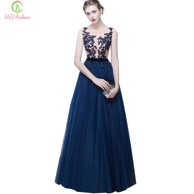 SSYFashion New Long Evening Dress Bride Banquet Navy Blue Lace Embroidery  Sleeveless Transparent Backless Long Prom Party Gown e66cef4bc5d0