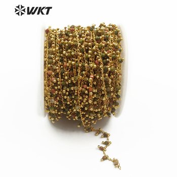 WT-RBC088 WKT New arrivals wholesale rosary chain 3mm unakite stone high quality wire wrapped with gold metal plated 10 meters