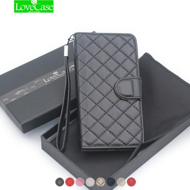 imágenes para Lujo Clásico Cuadrícula cubierta de la caja Del Cuero Del Teléfono Para el iphone 7 6 6 s plus Galaxy S7 S6 edge estilo del tirón del Monedero del bolso del teléfono de Calidad Superior y cas