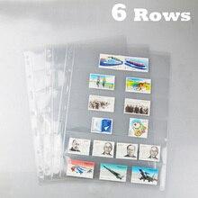 6 Rows 10PCS Transparent Loose Leaf Stamps Lines Grid  PVC Pages Of Brands Album Sheets Standard 9 holes PCCB /MINGT