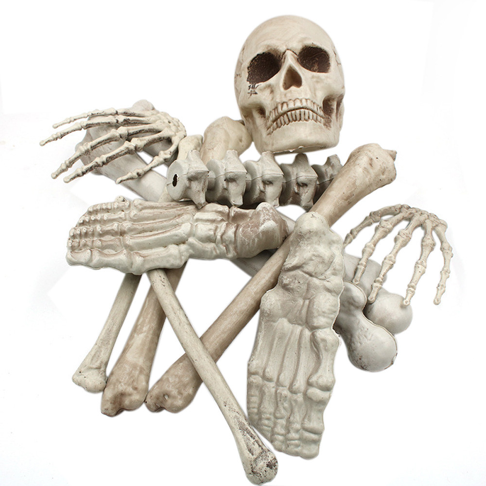 HalloweenToy kids Adult Funny Haunters 12pc Bag of Plastic Skeleton Skull Bones Set Halloween plastic Prop Decoration Toy posable skeleton figure halloween decor scary man bone creepy prop party decoration diy toy
