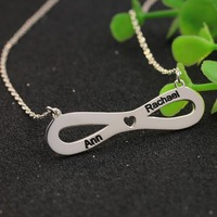 Personalized Infinity Name Necklace Sterling Silver Mini Hollow Heart Custom Two Name Charm Pendant Fashion Nameplate