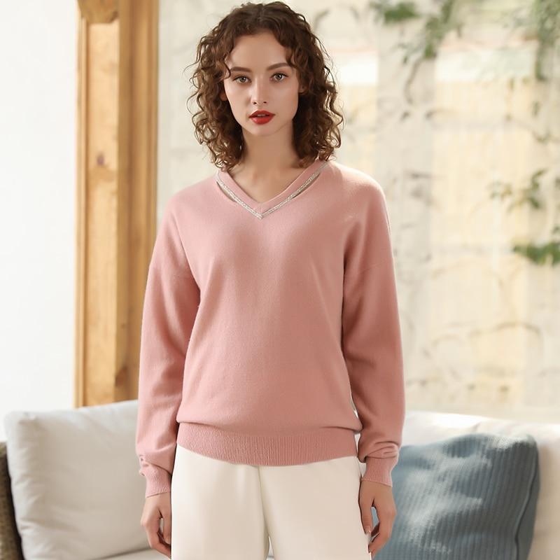 Perle Cachemire Tricoté V Pull Chandail Longues 100 Automne Gray white Décor Cou En Pulls pink Femmes Dames Lâche Manches Bx0wgd0