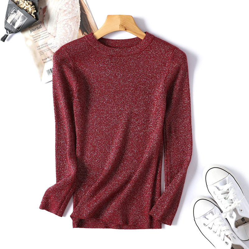Womens Sweaters 18 Winter Shiny Lurex Autumn Winter Sweater Women Long Sleeve Pullover Women Tops Basic Christmas Sweater Pull 16