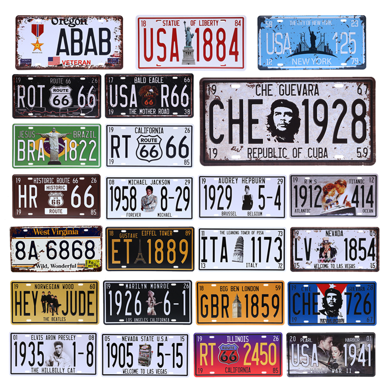 Vintage Decor Retro Car License Plate Garage Cafe Bar Pub Have Beer House  Number Metal Signs Motor Oil Decorative Plaque YN125