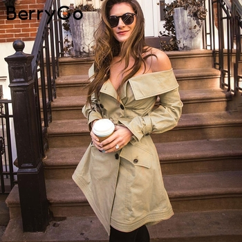 BerryGo Off shoulder sexy trench coats women High waist sashes khaki outwear autumn 2018 Casual pocket outwears coats female Спортивный бальный танец