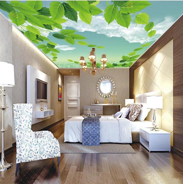 Papier Peint 3d Plafond Bleu Ciel Blanc Nuages Vert Feuille Plafond