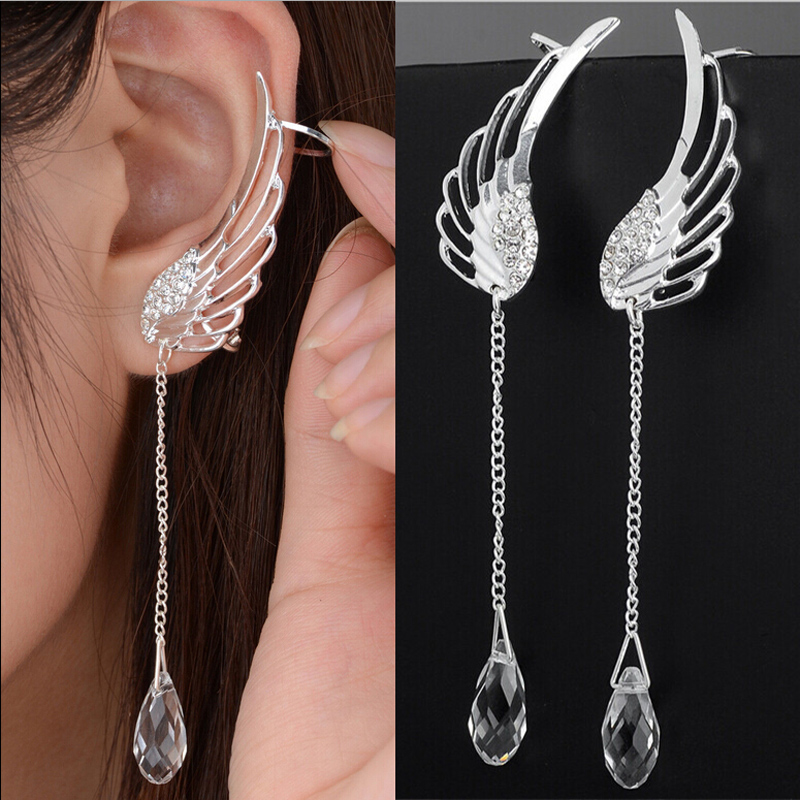 Silver Plated Angel Wing Stylist Crystal Earrings Drop Dangle Ear Stud For Women Long Cuff Earring Er623 In Clip From Jewelry Accessories On