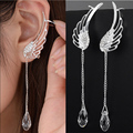 Silver Plated Angel Wing Stylist Crystal Earrings Drop Dangle Ear Stud For Women Long Cuff Earring ER623