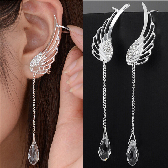 Silver Plated Angel Wing Stylist Crystal Earrings Drop Dangle Ear Stud For Women Long Cuff Earring