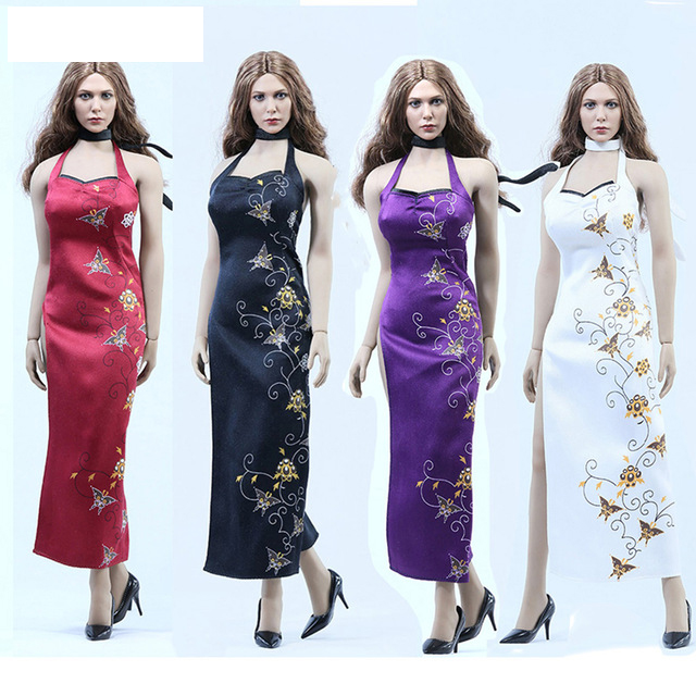 1/6 Female Action Figure Clothes Sexy Cheongsam and High Heel Shoes DIY Models Accessories new sexy vs045 1 6 black and white striped sweather stockings shoes clothing set for 12 female bodys dolls