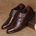 Новая Мода мужская Бизнес Туфли Мужские Oxfords Кожаные Ботинки Человек Дышащий шнуровке Свадебная Вечеринка Обувь
