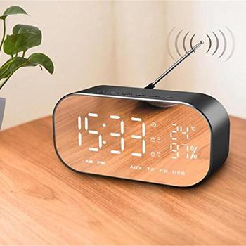 Altavoz portátil Bluetooth temperatura LCD pantalla FM Radio TF alarma reloj fecha pantalla decoración hogar inalámbrico estéreo Subwoofer