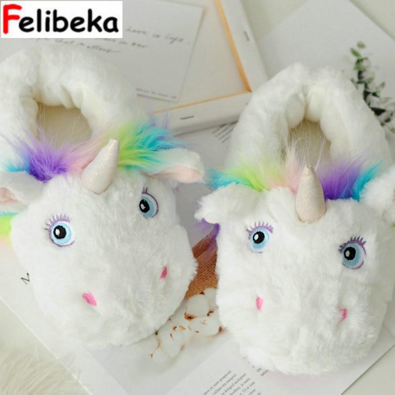 Hiver nouveau Parent-enfant style Licorne Maison Pantoufles pour les Femmes et Enfants Coton Maison Chaussures unicornio licorne pour Cosplay pantoufles