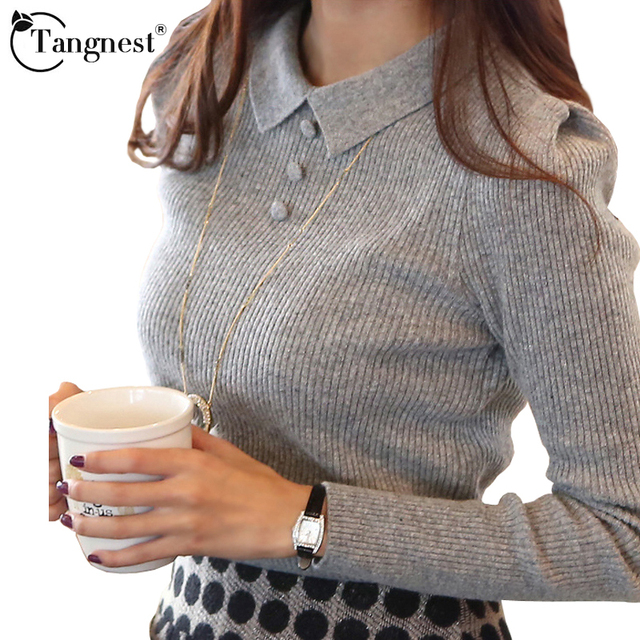 TANGNEST Women Sweater 2017 New Fashion Casual Spring Autumn Solid Color Buttons Office Pullover Slim Knitted Sweaters WZM1069