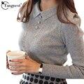 Tangnest suéter de las mujeres 2017 nueva moda casual otoño color sólido oficina botones suéter delgado de punto jerseys wzm1069
