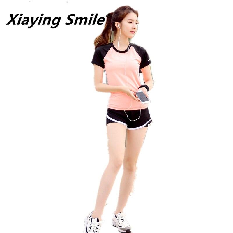 @1  Xiaying Улыбка Женщины Дышащий 10 Цветов Спорт Бег Набор Yoga Summer Quick Dry Тренажерный Зал Фитне ✔