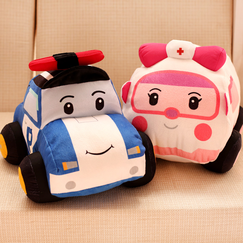 Plush Toys Cute Car White Ambulance Police Car Red Post Car Yellow Small Creative 3d Stuffed Toy Dolls Home Decor Kawaii Gifts Real Life Plush