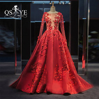 Luxury Red Long Evening Dresses 2017 Real Photos Sheer Boat Neck Long Sleeves 3D Floral Flowers
