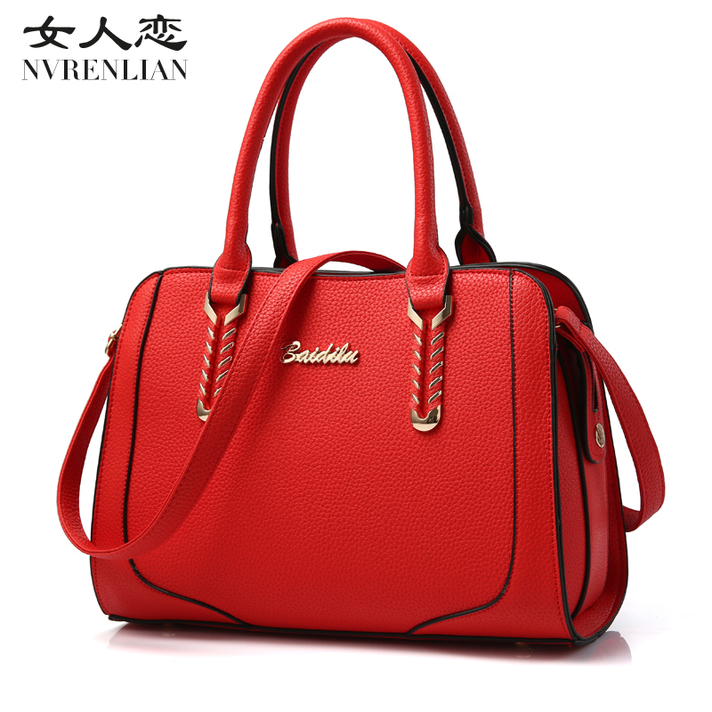 NVRENLIAN Brand Leather Women Bag Boston Handbag Patchwork Shoulder Bags Large Capacity Pillow Ladies Tote sac a main weiju new canvas women handbag large capacity casual tote bag women men shoulder bag messenger crossbody bags sac a main