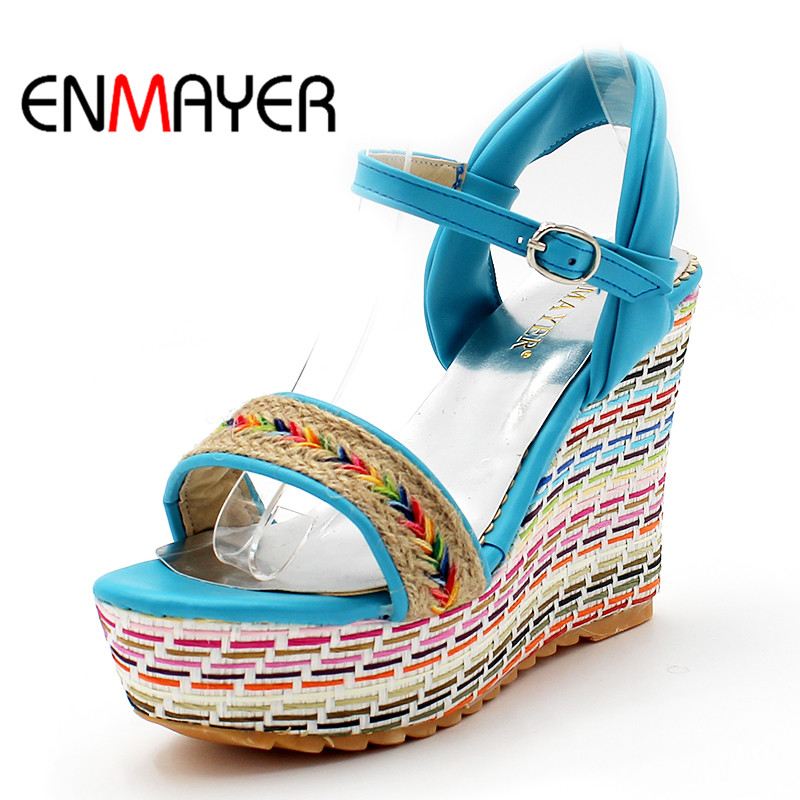 ENMAYER Mixed Colors Bohemia New Sale Shoes Women Summer Wedges Sandals Platform Open Toe High-heeled Gladiator Sandals Women anmairon shallow leisure striped sandals women flats shoes new big size34 43 pu free shipping fashion hot sale platform sandals