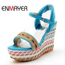 ENMAYERMixed Colors Bohemia 2015New sale shoes women Summer wedges sandals platform open toe high-heeled gladiator sandals women цена в Москве и Питере