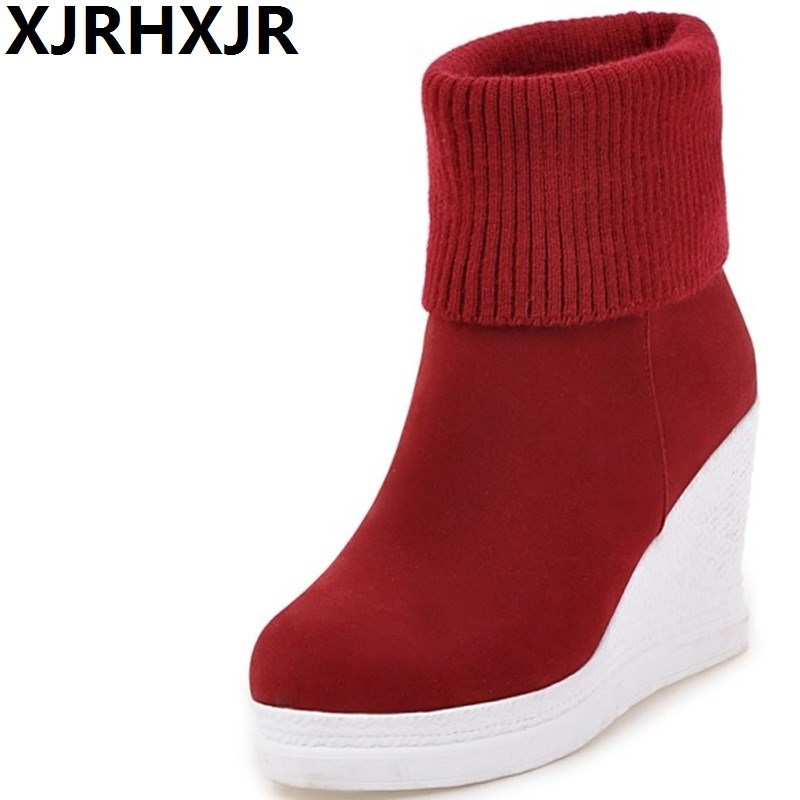Women Knitting Wool Snow Boots Winter Warm Ankle Boots Woman Slip On Wedge Heels High Top Cotton Shoes Large Size 33-43 women snow boots faux fur ankle boots winter warm cotton flock shoes woman slip on flats shoes large size