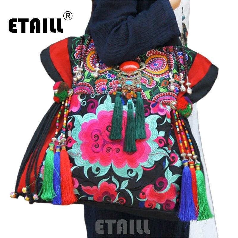 Yunnan Hmong Vintage ethnique brodé Boho indien Floral broderie thaïlande célèbre marque Logo Sac et Sac à main Sac à Dos Femme