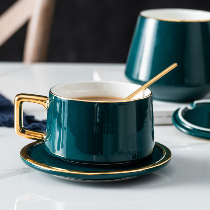 Top grade British Coffee Cup Set Ma Caron color Luxury Creative Gift for Lovers Golden Design