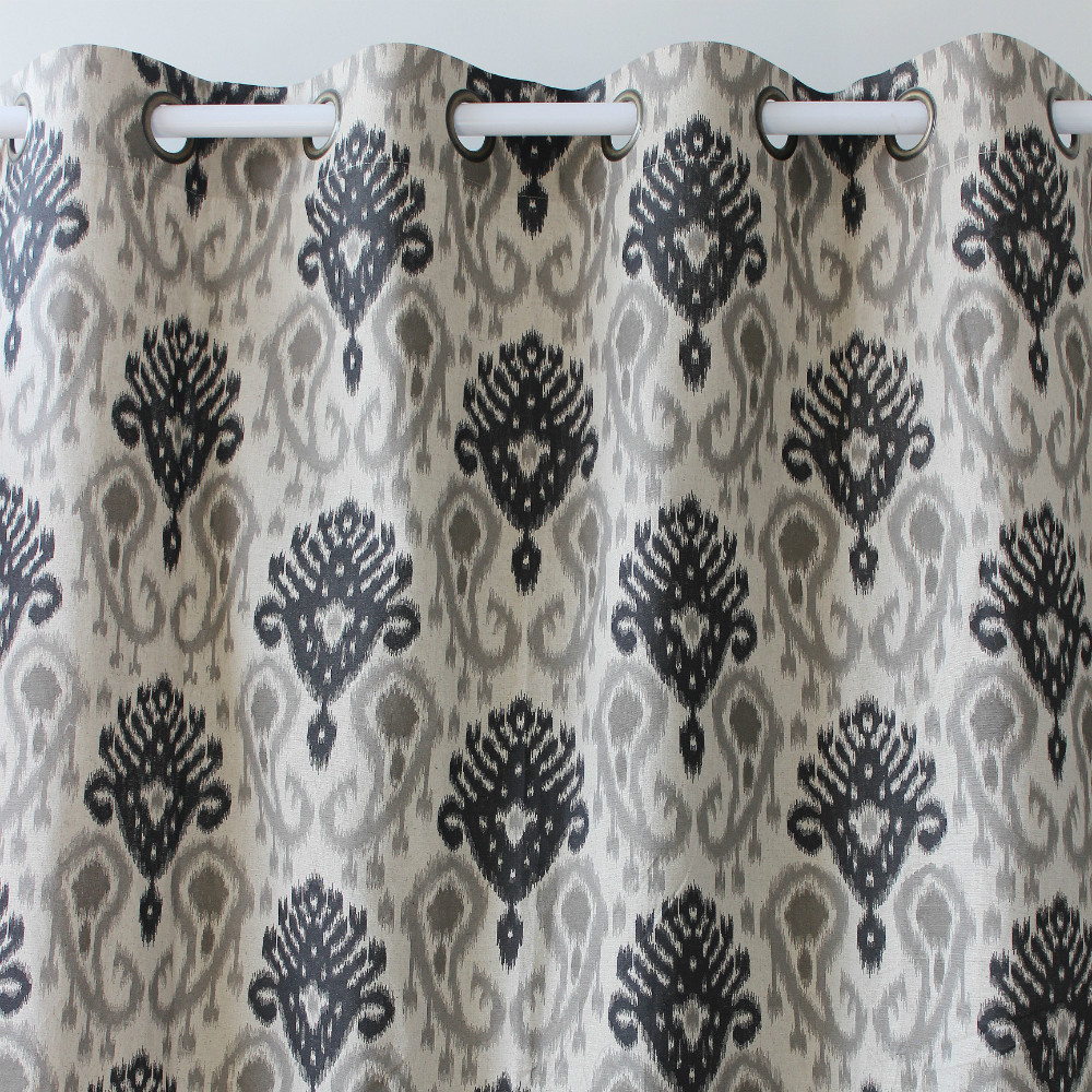 Printed curtains living room - Vezo Home Brown Black Vintage Floral Linen Window Curtains Panel Door Bedroom Living Room Curtain Home