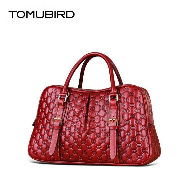 Neue Aus Überlegene Tomubird Designer Luxus 2019 Big Mode Echtem Handtaschen Bags Brown Rindsleder red Geprägte Leder Frauen 7ffq5