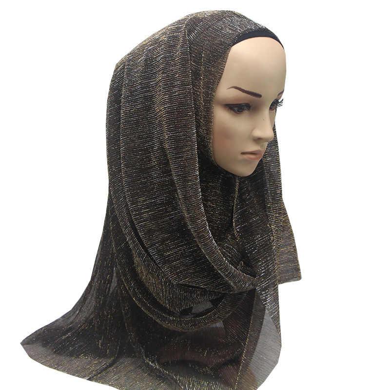 bf3427977b06 ... ZFQHJJ 10pcs lot Fashion Women Glitter Gold Hijab Scarf Muslim Islamic  Turkey Turban Head Covering ...