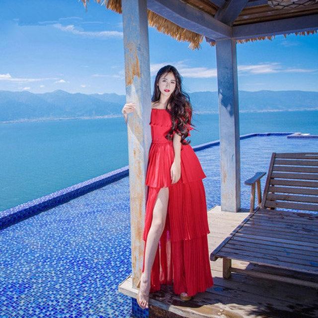 762e78404498 HANZANGL Women Maxi Dress 2018 Summer Short Sleeve Slash Neck Sexy Red/White  Beach Dress Bohemian Long Cake Dress Robe Longue