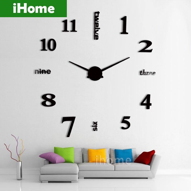3d large sticker decorative wall clocks living room mirror metal decorative diy wall watch big numbers