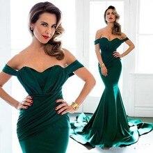 Smaragd Abendkleid Schulterfrei Kapelle Zug Satin Plus Size 2016 Arabisch Langes Kleid Abendkleid