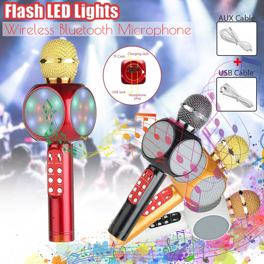 Wireless Bluetooth Ktv Microphone Fashion Flash Led Light Hanheld Microphone For Mobile Phone Music Player Speaker Mini Home Mic