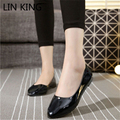 LIN KING Wome Casual Shoes Pointed Toe Solid Slip-On Shallow Mouth Simple Shoes Massage Leisure PU Flat All-Mouth Short Shoes