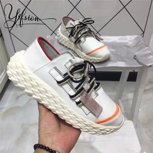 YIFSION 2019 New Fashion Spring Casual Women Flat Shoes Cross Tied Shallow Mouth Black White Sneaker Flats Woman
