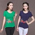 M-4XL Nacional Vento Nova Chegada Mulheres T Verão Camisa Feminina moda Bordado T-shirt de Algodão Slim Fit Camisetas Plus Size 62252