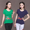 M-4XL National Wind New Arrival Women Summer T Shirt Female Fashion Embroidery T-shirt Slim Fit Cotton T Shirts Plus Size 62252