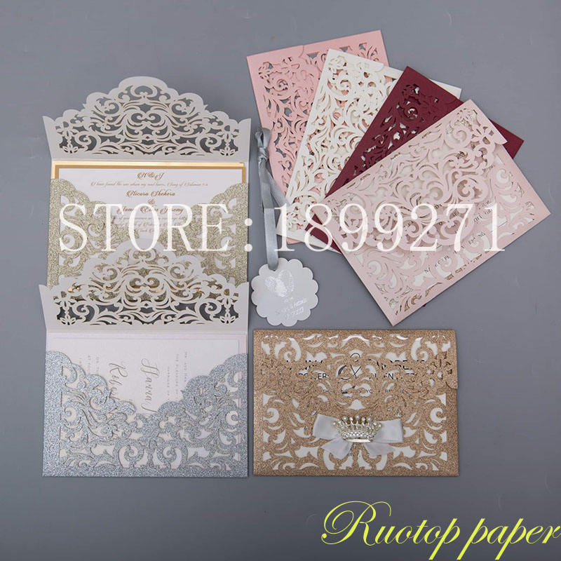 100pcs Lace Laser Cutting Champagne rose gold silver glitter Wedding Invitation Cards postcards for Wedding Greeting