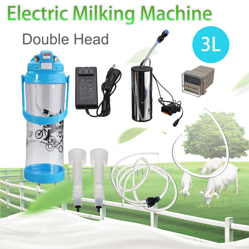 Electric Impulse Milking Machine 3L 0.8 Gal Double Head Barrel Farm Milk Vacuum Pump Bucket Milker Barrel AC110V-220V Sheep Goat