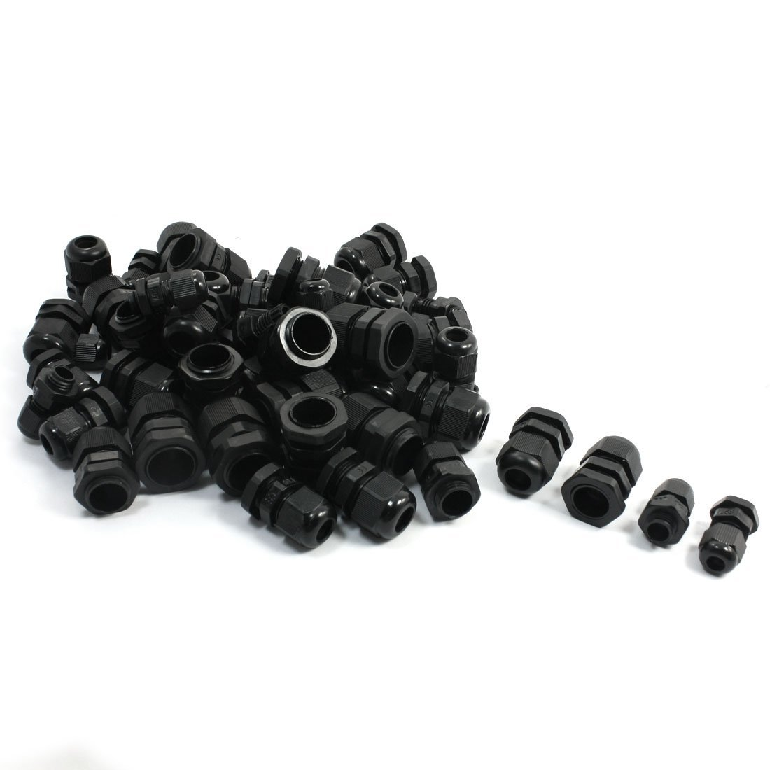 50PCS PG7 PG9 PG11 PG13.5 PG16 Black Plastic Waterproof Cable Glands цена
