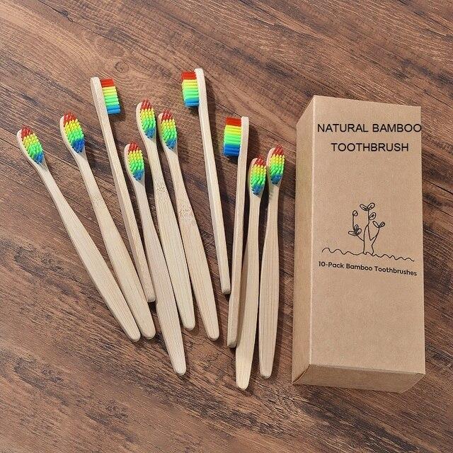 Nuovo disegno misto di colore di bambù spazzolino da denti Eco-Friendly in legno Spazzolino Da Denti a setole Morbide Punta del Carbone di legna di adulti igiene orale spazzolino da denti 3