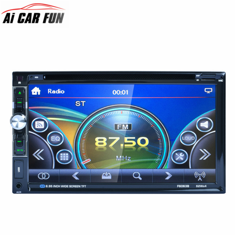 F6063B 7 inch HD TFT Touch Screen 2DIN Car In Dash FM Radio Receiver Bluetooth DVD CD Player with Wireless Remote Control 7 hd 2din car stereo bluetooth mp5 player gps navigation support tf usb aux fm radio rearview camera fm radio usb tf aux