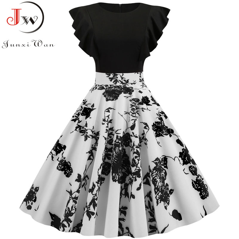 Black White Patchwork Floral Print Summer Dress Women 2019 Petal Sleeve Dot Vintage Dress Robe Casual Rockabilly Party Vestidos