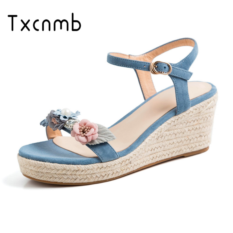 TXCNMB 2019 hot sale sandals women genuine leather shoes buckle wedges high heels sandals summer dress